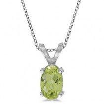 Oval Peridot Solitaire Pendant Necklace in 14K White Gold (0.55ct)