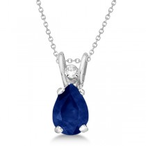 Pear Blue Sapphire and Diamond Pendant 14K White Gold (0.63ctw)