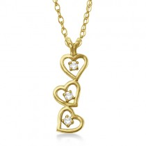 Triple Heart Diamond Pendant Necklace 14k Yellow Gold (0.15ct)