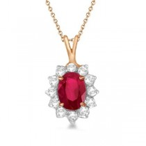 Ruby & Diamond Accented Pendant Necklace 14k Rose Gold (1.80ctw)