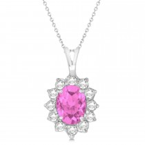 Pink Sapphire & Diamond Accented Pendant Necklace 14k White Gold (1.70ctw)