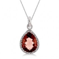 Pear Shaped Garnet and Diamond Pendant Necklace 14k White Gold