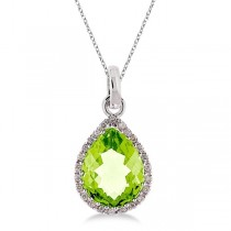 Pear Shaped Peridot and Diamond Pendant Necklace 14k White Gold
