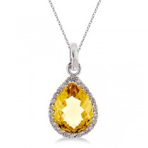 Pear Shaped Citrine and Diamond Pendant Necklace 14k White Gold