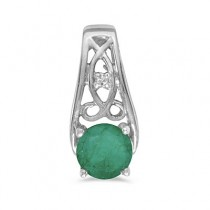 Antique Style Emerald and Diamond Pendant Necklace 14k White Gold