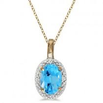 Oval Blue Topaz & Diamond Pendant Necklace 14k Yellow Gold (0.59ctw)
