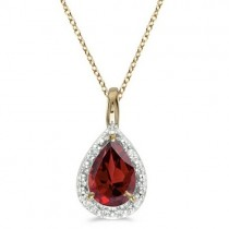 Pear Shaped Garnet Pendant Necklace 14k Yellow Gold (0.85ct)