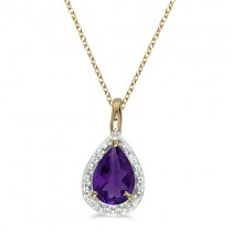 Pear Shaped Amethyst Pendant Necklace 14k Yellow Gold (0.65ct)
