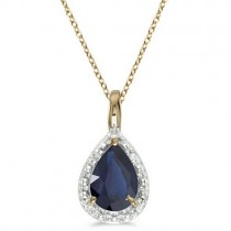 Pear Shaped Blue Sapphire Pendant Necklace 14k Yellow Gold (0.85ct)