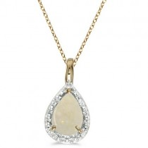 Pear Shaped Opal Pendant Necklace 14k Yellow Gold (0.85ct)