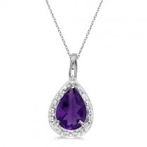 Pear Shaped Amethyst Pendant Necklace 14k White Gold (0.65ct)