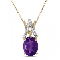 Amethyst & Diamond Solitaire Pendant 14k Yellow Gold (1.20tcw)