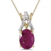 Ruby & Diamond Solitaire Pendant 14k Yellow Gold (1.50tcw)