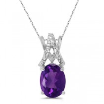 Amethyst & Diamond Solitaire Pendant 14k White Gold (1.20tcw)