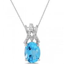 Blue Topaz & Diamond Solitaire Pendant 14k White Gold (1.60tcw)