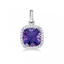 Cushion-Cut Amethyst and Diamond Pendant Necklace 14K White Gold (7mm)