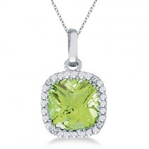 Cushion-Cut Peridot and Diamond Pendant Necklace 14K White Gold (7mm)