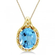 Oval Blue Topaz and Diamond Pendant Necklace 14k Yellow Gold (3.00ct)