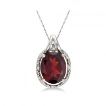 Oval Garnet and Diamond Pendant Necklace 14k White Gold (3.00ct)
