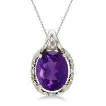 Oval Amethyst and Diamond Pendant Necklace 14k White Gold (3.00ct)