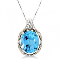 Oval Blue Topaz and Diamond Pendant Necklace 14k White Gold (3.00ct)