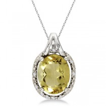 Oval Lemon Quartz & Diamond Pendant Necklace 14k White Gold (3.00ct)