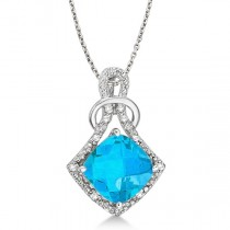 Blue Topaz & Diamond Swirl Pendant Necklace 14k White Gold (4.05ct)
