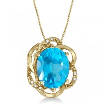 Blue Topaz & Diamond Flower Shaped Pendant 14k Yellow Gold (3.00ct)