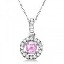 Pink Sapphire Floating Halo Pendant Necklace 14K White Gold (0.47ct)