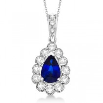 Pear Sapphire and Diamond Pendant Necklace in 14K White Gold (0.90ct)