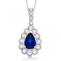 Pear Sapphire & Diamond Pendant Necklace in 14K White Gold (0.90ct)