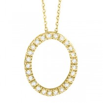 Diamond Oval Pendant Necklace 14k Yellow Gold (0.25ct)