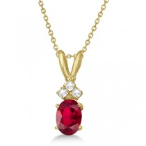 Oval Ruby Pendant with Diamonds 14K Yellow Gold (1.12ctw)