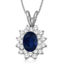 Blue Sapphire & Diamond Accented Pendant 14k White Gold (1.60ctw)