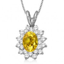 Yellow Sapphire & Diamond Accented Pendant 14k White Gold (1.60ctw)