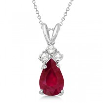 Pear Ruby & Diamond Solitaire Pendant Necklace 14k White Gold (0.75ct)