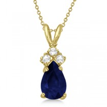 Pear Sapphire & Diamond Solitaire Pendant 14k Yellow Gold (0.75ct)