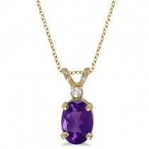 Oval Amethyst & Diamond Solitaire Pendant 14K Yellow Gold (0.82ct)