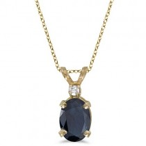 Oval Sapphire & Diamond Solitaire Pendant 14K Yellow Gold (1.00ct)