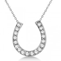 Ladies Diamond Horseshoe Pendant Necklace in 14K White Gold (0.25ct)