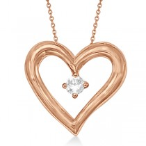 Open Heart Diamond Pendant Necklace in 14K Rose Gold (0.05ct)