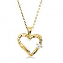 Diamond Open Heart Shaped Pendant Necklace 14k Yellow Gold