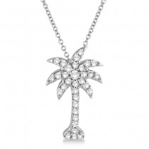 Palm Tree Shaped Diamond Pendant Necklace 14k White Gold (1/4ct)