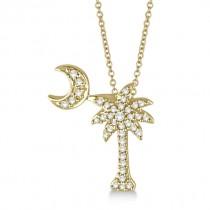 Palm Tree & Moon Diamond Pendant Necklace 14k Yellow Gold (0.15ct)