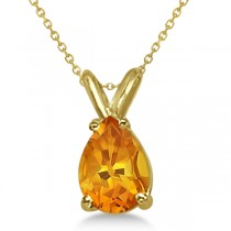 Pear-Cut Citrine Solitaire Pendant Necklace 14K Yellow Gold (1.00ct)