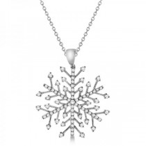 Diamond Snowflake Pendant Necklace in 14K White Gold (0.30ct)