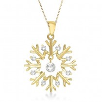 Snowflake Shaped Diamond Pendant Necklace 14k Yellow Gold (0.20ct)