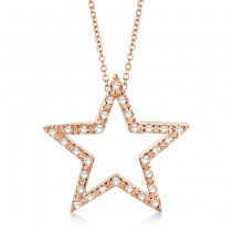 Star Shaped Diamond Pendant Necklace 14k Rose Gold (0.10ct)