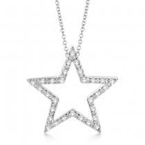Star Shaped Diamond Pendant Necklace 14k White Gold (0.10ct)