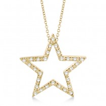 Star Shaped Diamond Pendant Necklace 14k Yellow Gold (0.10ct)